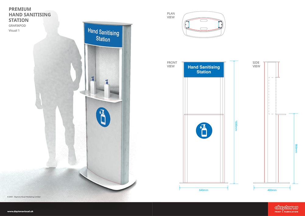 Premium Hand Sanitising Station Dims
