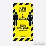 Social Distancing Pavement Sign Curve