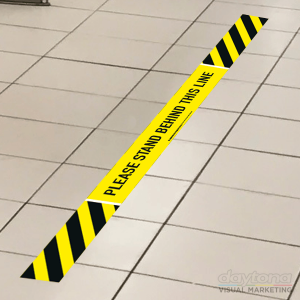 please stand behind the line floor sticker