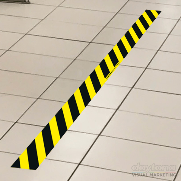behind the line floor sticker chevron