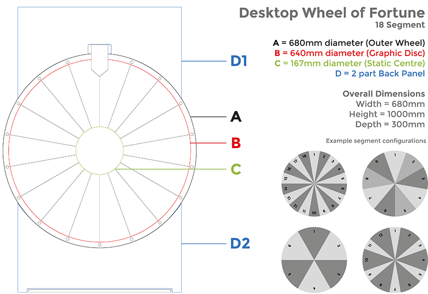 desktop wheel of fortune sizing specs