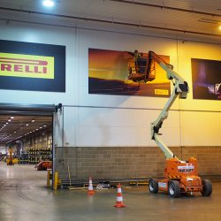 large format tension graphics installation