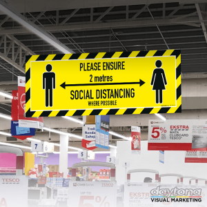 social distancing hanging sign boards